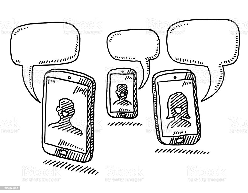 Smart Phone Conversation Speech Bubble Drawing vector art illustration
