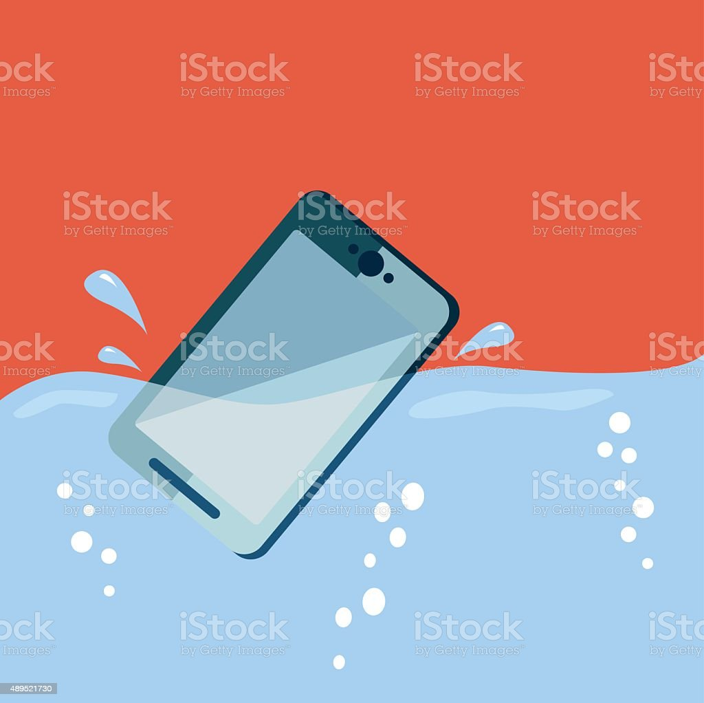 Smart phone drop into the water with splashes vector art illustration