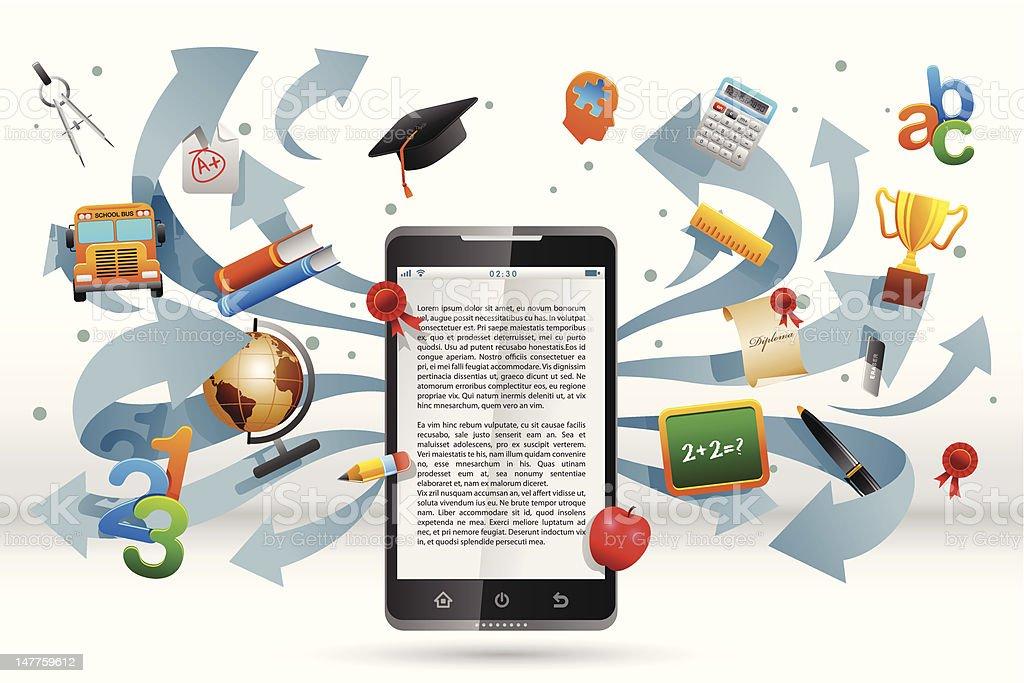 Smart Phone for education vector art illustration