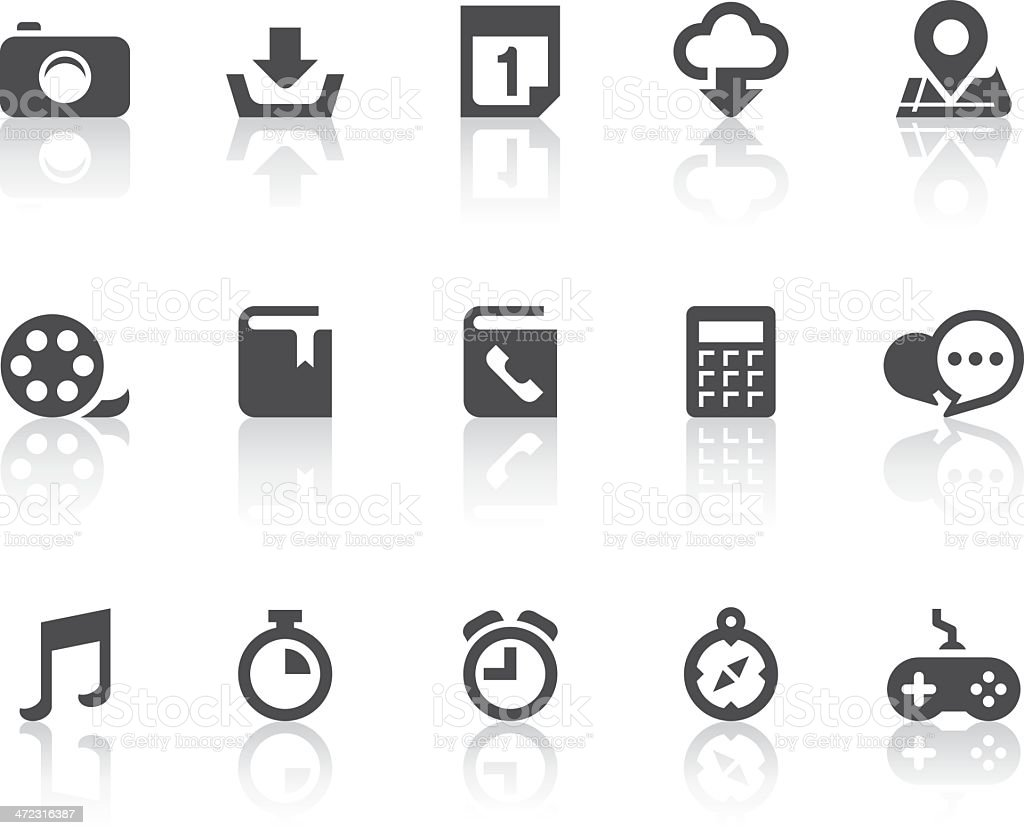 Smart Phone Functions Icons | Simple Black Series royalty-free stock vector art