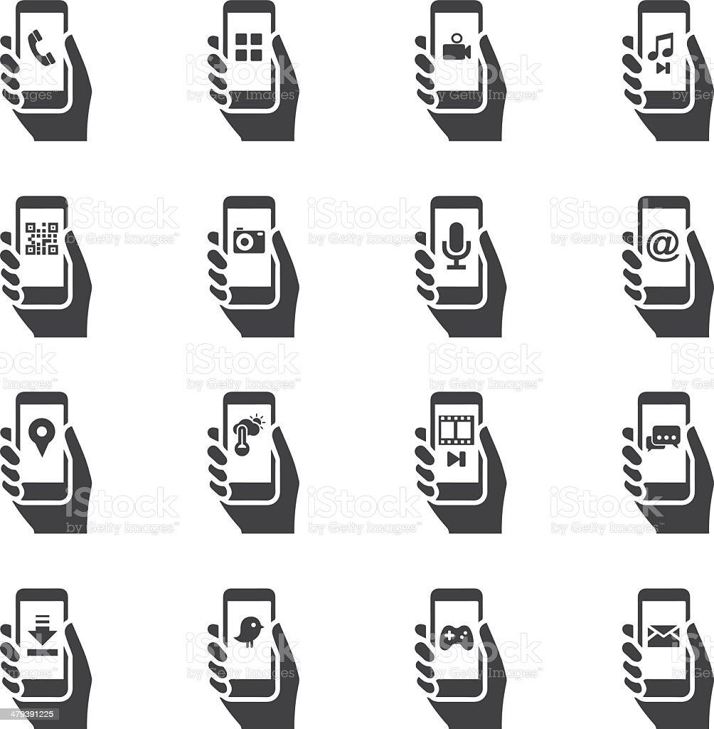 Smart Phone Functions Silhouette icons V.2 vector art illustration
