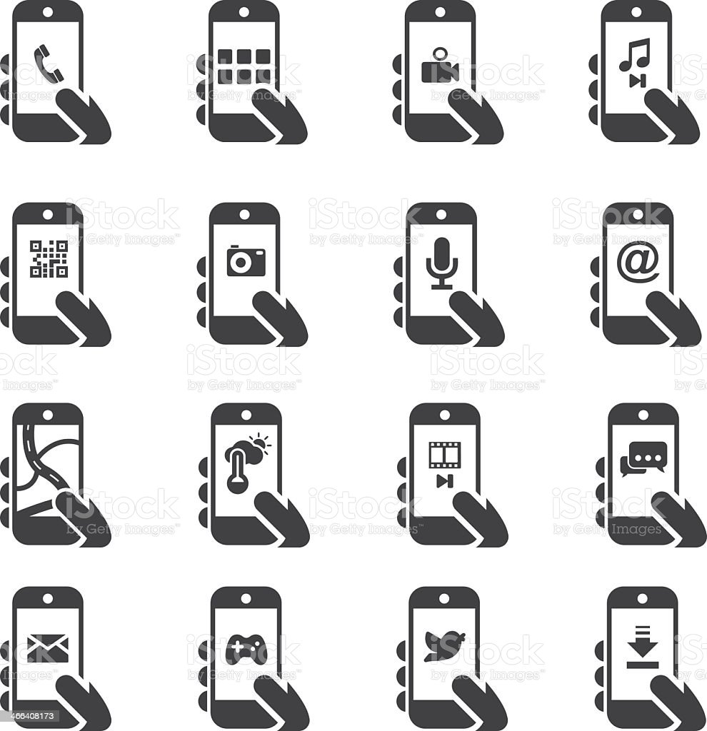 Smart Phone Functions Silhouette icons vector art illustration