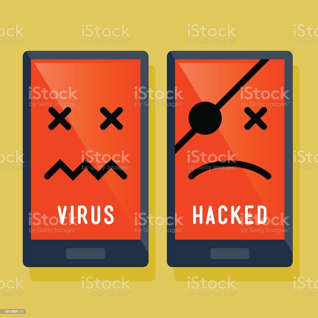Smart Phone Hacker And Virus Attack Icon vector art illustration