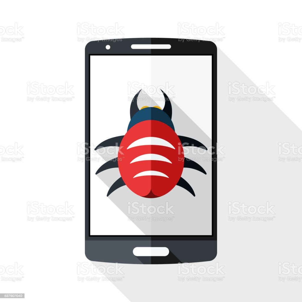 Smart phone icon infected by malware vector art illustration