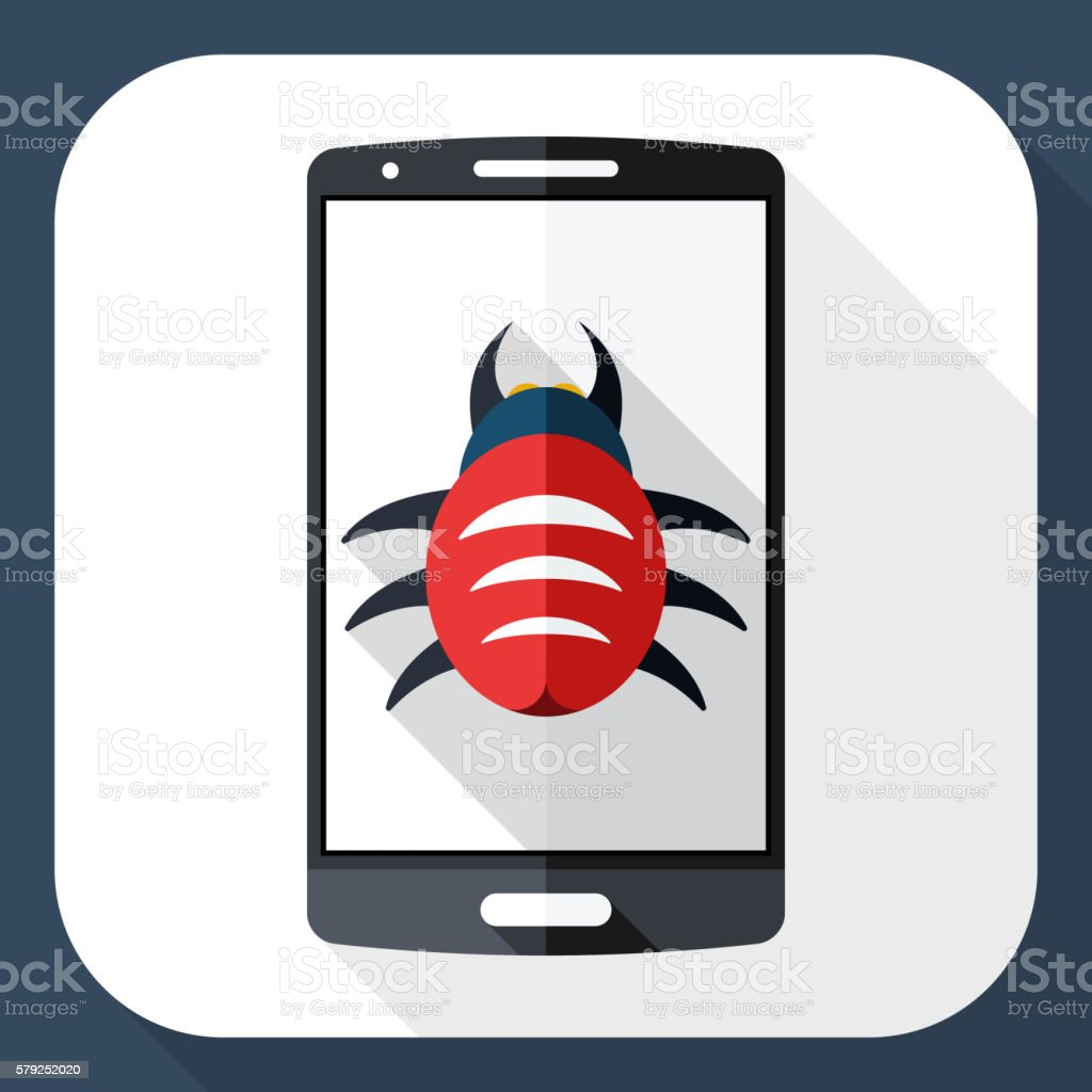 Smart phone icon infected by malware with long shadow vector art illustration