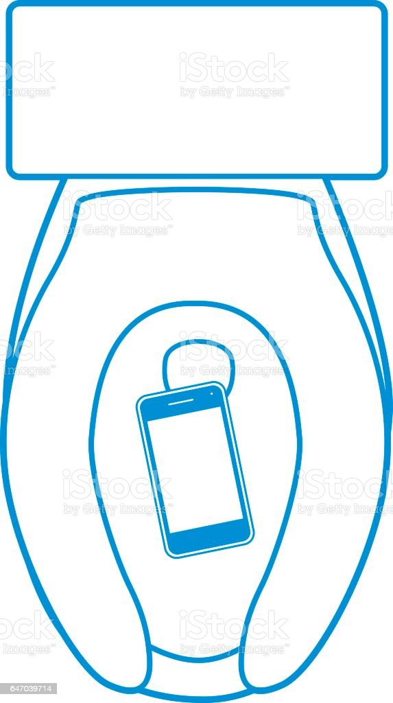 Smart Phone In Toilet vector art illustration