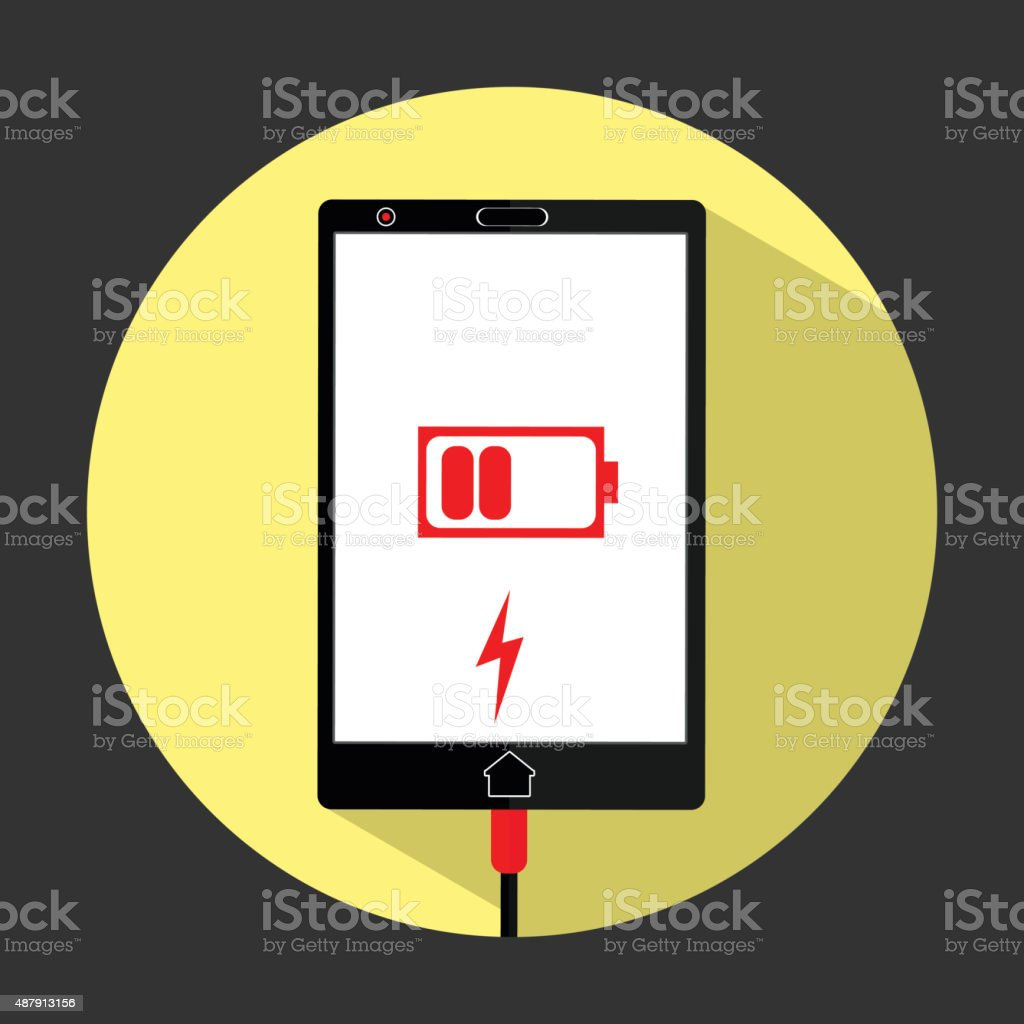 smart phone low battery charging vector art illustration