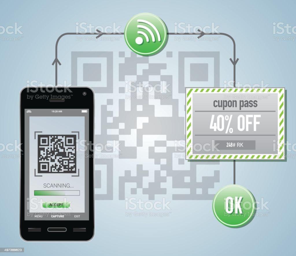 Smart phone reading qr cupon code vector art illustration