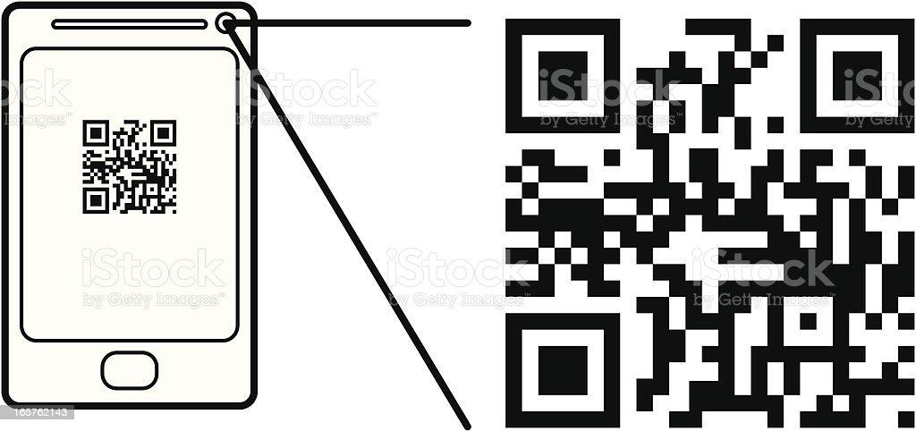Smart Phone Scanning a QR Code vector art illustration