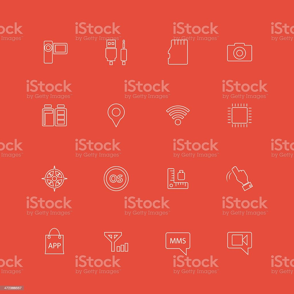 Smart Phone Specification Icons vector art illustration