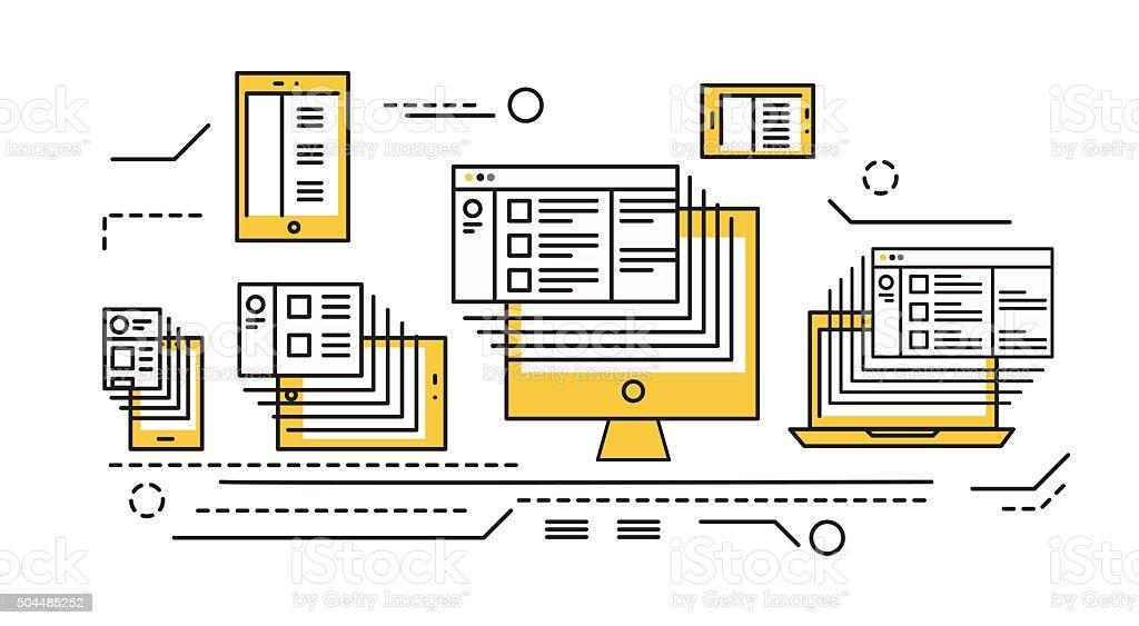 smart phone, tablet, laptop and desktop computer. vector art illustration
