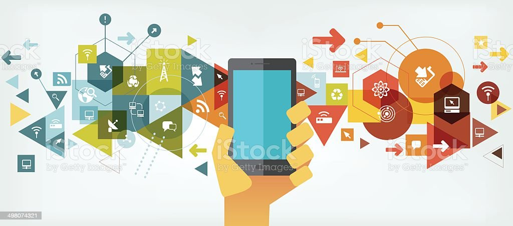 Smart Phone technology and communication vector art illustration