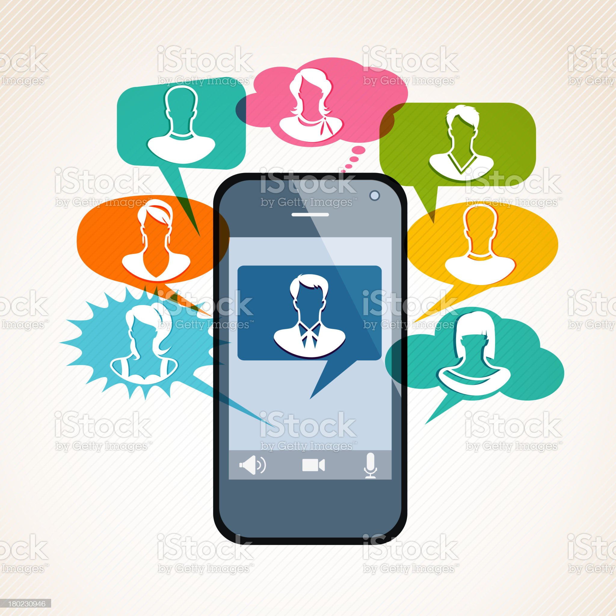 Smart Phone Video Chat royalty-free stock vector art
