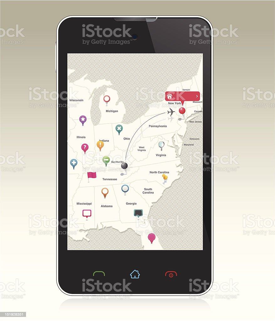 Smart Phone with Map Pins royalty-free stock vector art