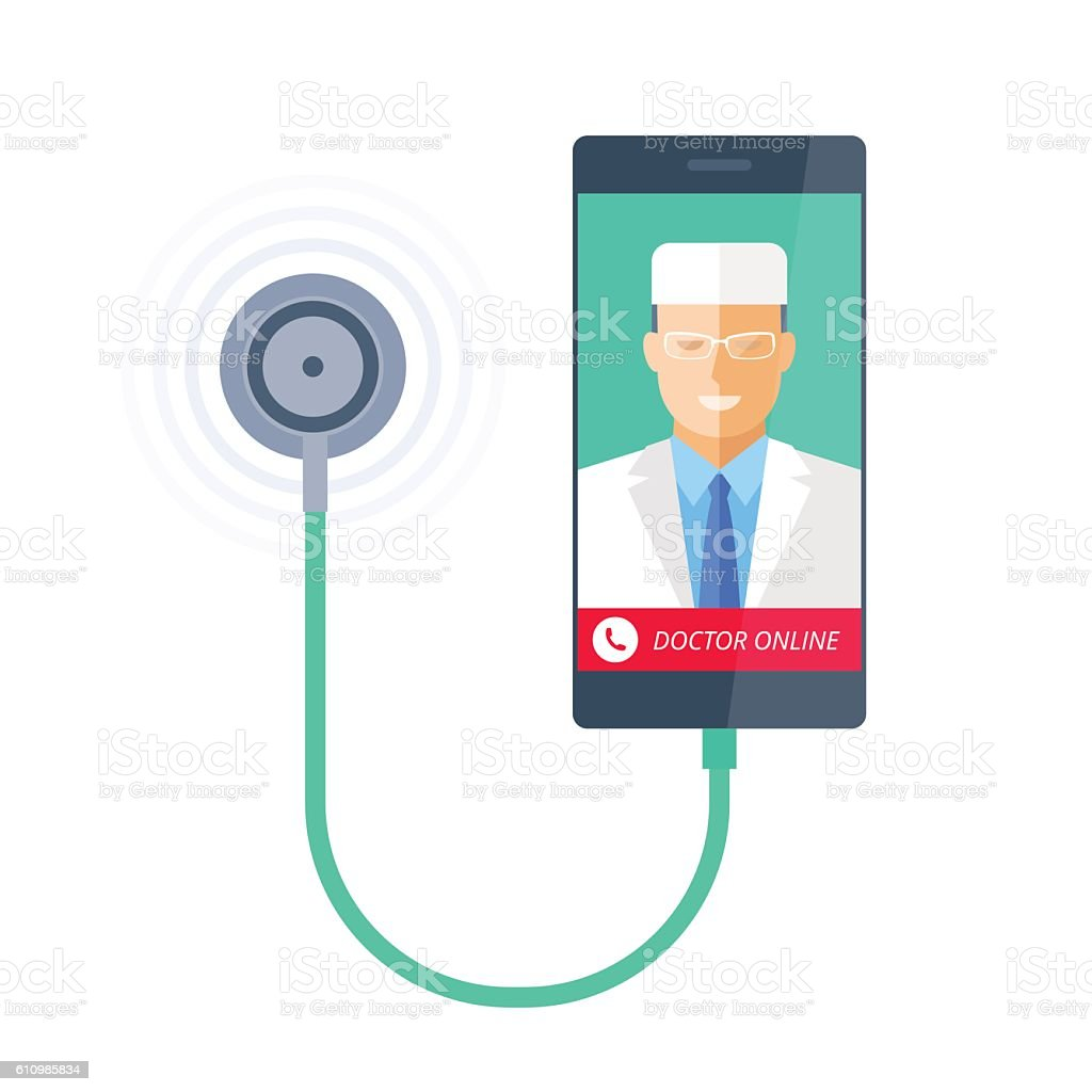 Smart phone with stethoscope and doctor online on the screen. vector art illustration