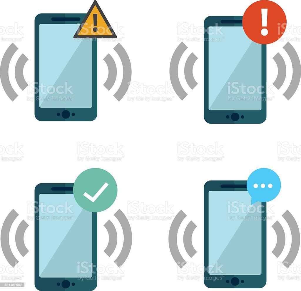 Smart phones with push notifications vector art illustration