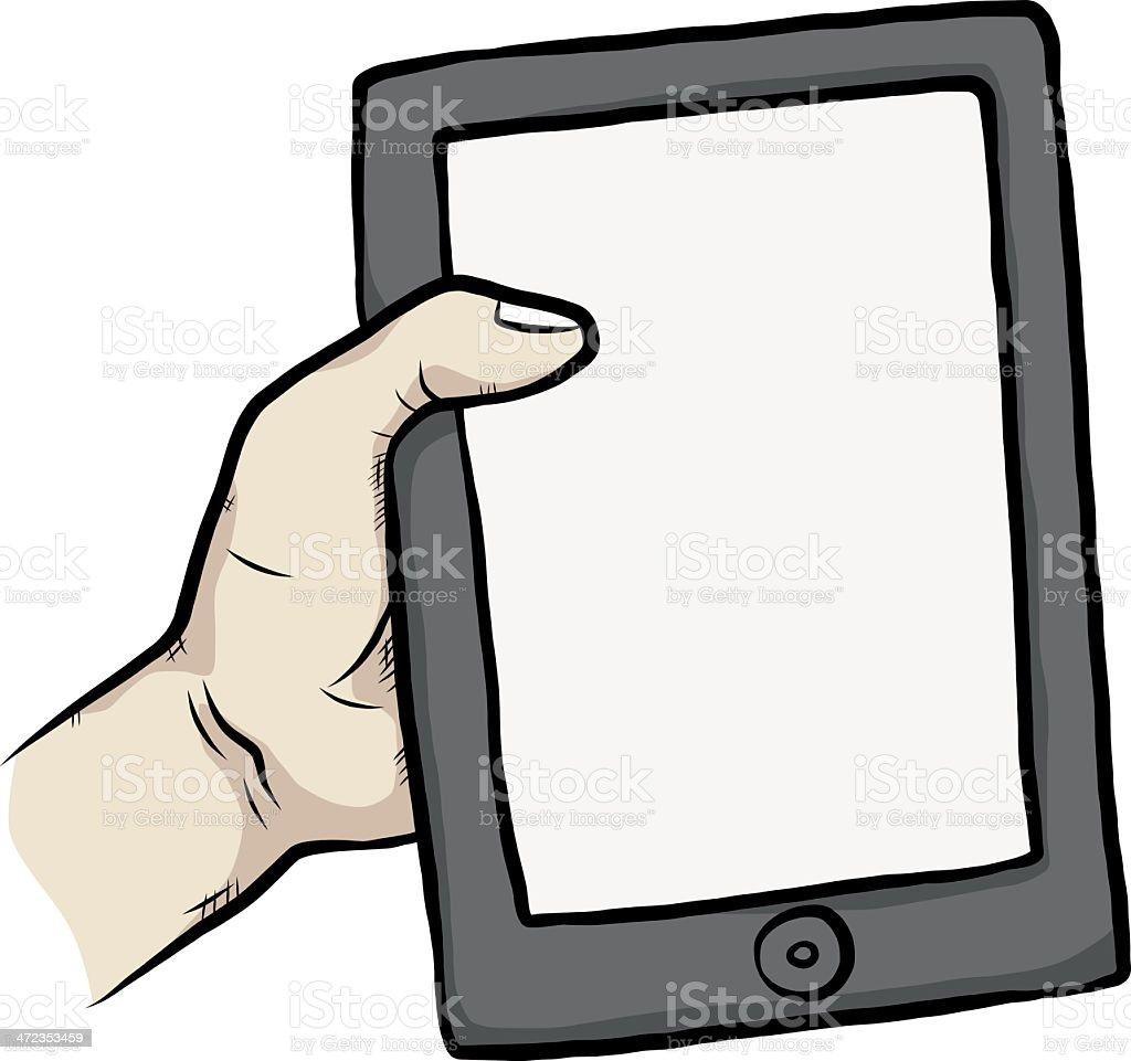 Smart tablet in hand royalty-free stock vector art