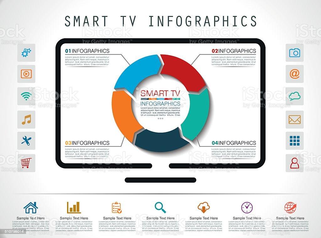 Smart Tv Infographics vector art illustration