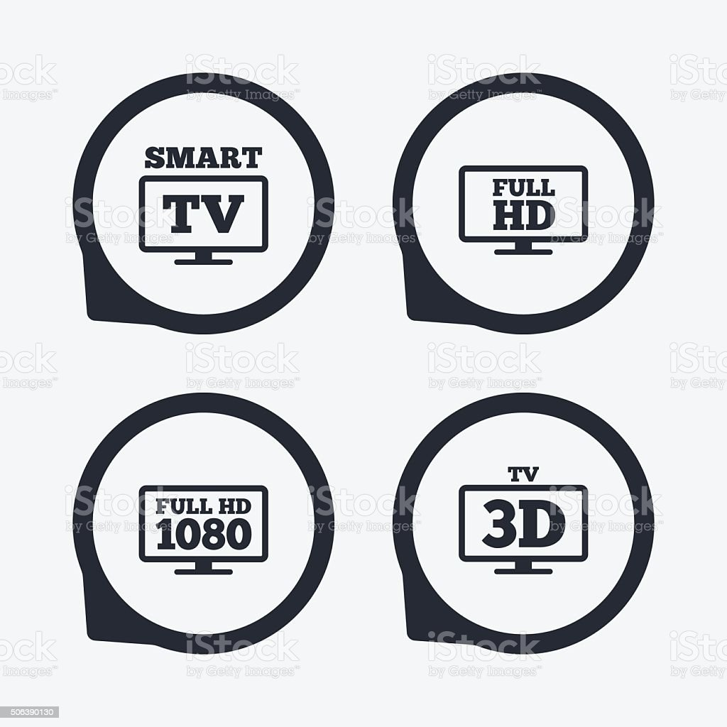 Smart TV mode icon. 3D Television symbol. vector art illustration