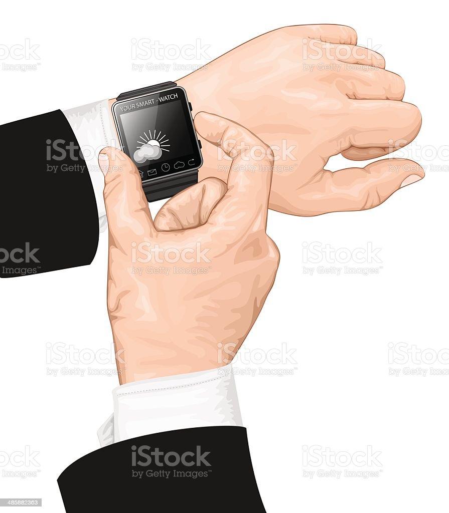 Smart watch gesture. royalty-free stock vector art