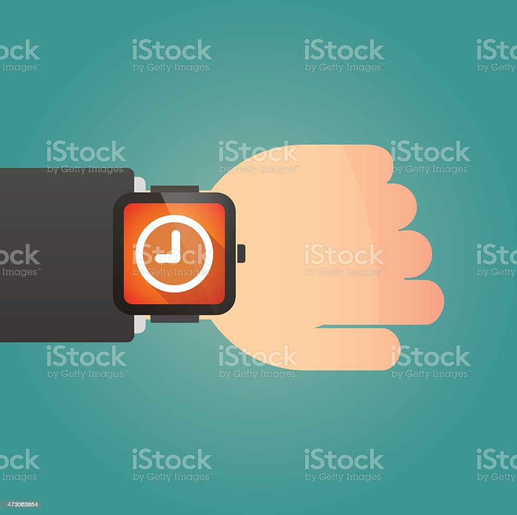 Smart watch icon with a clock vector art illustration