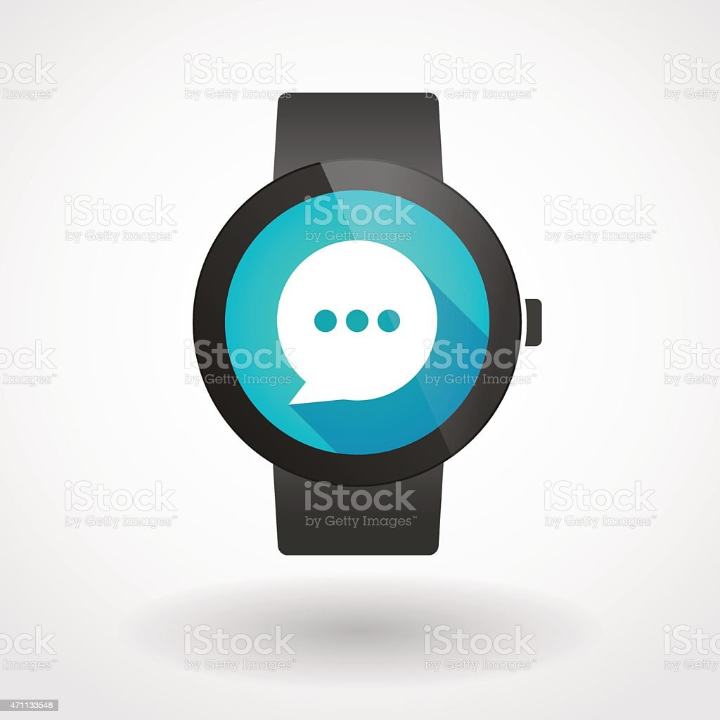 Smart watch icon with a comic balloon vector art illustration