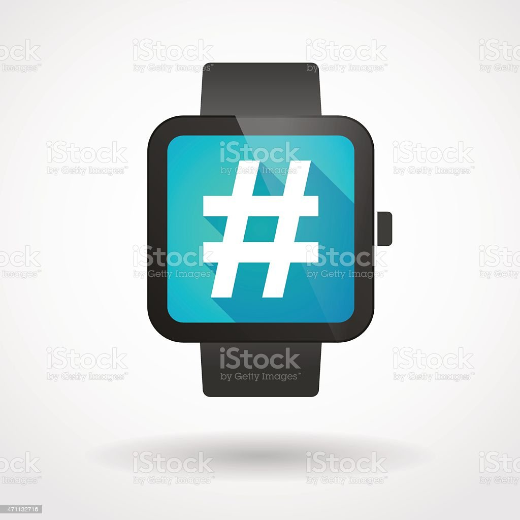Smart watch icon with a hash tag vector art illustration