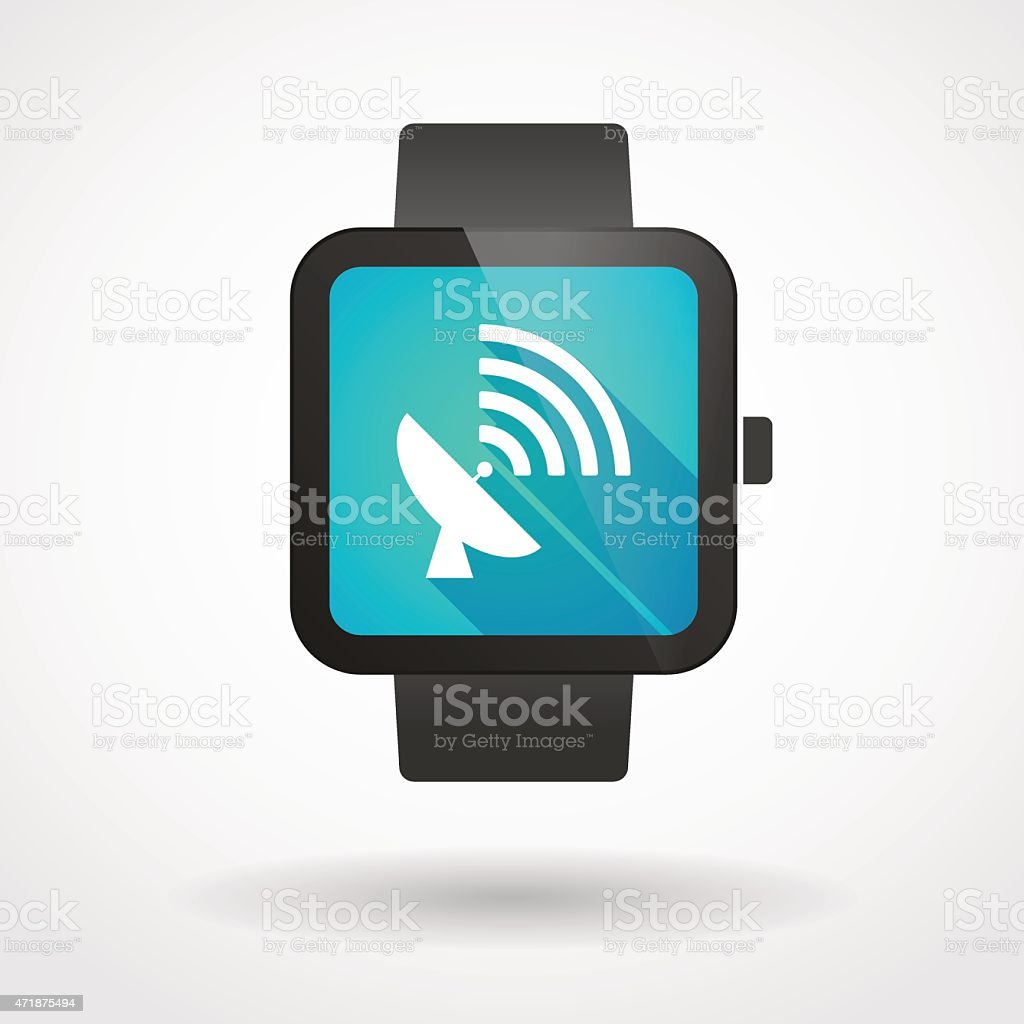 Smart watch icon with an antenna vector art illustration