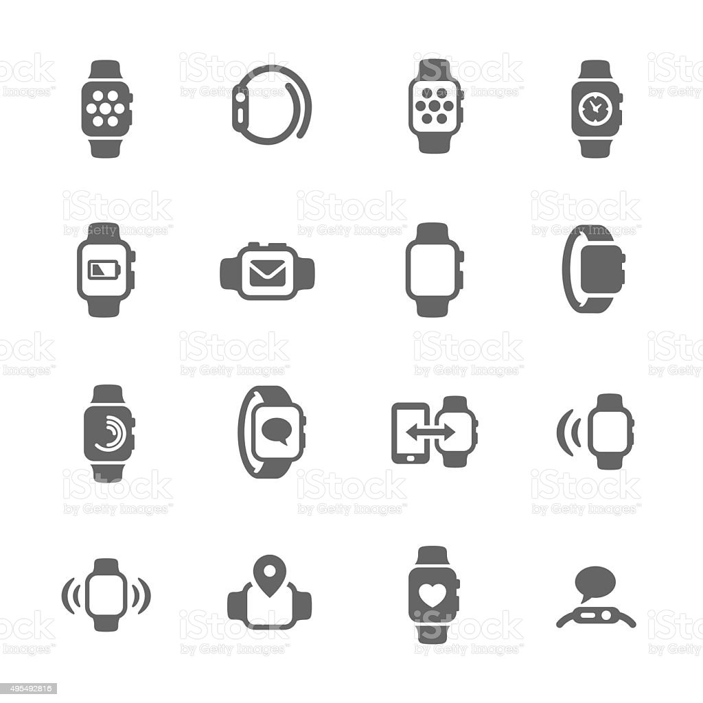 Smart Watch Icons vector art illustration