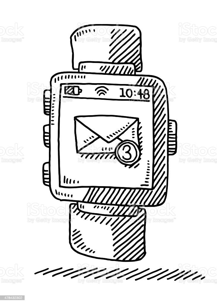 Smart Watch Incoming Emails Drawing vector art illustration