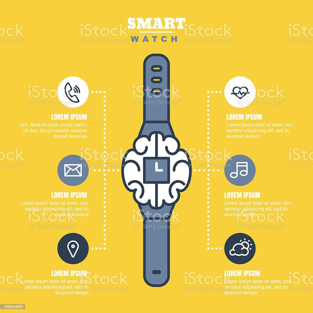 Smart watch infographics or presentations template with outline icons set. vector art illustration