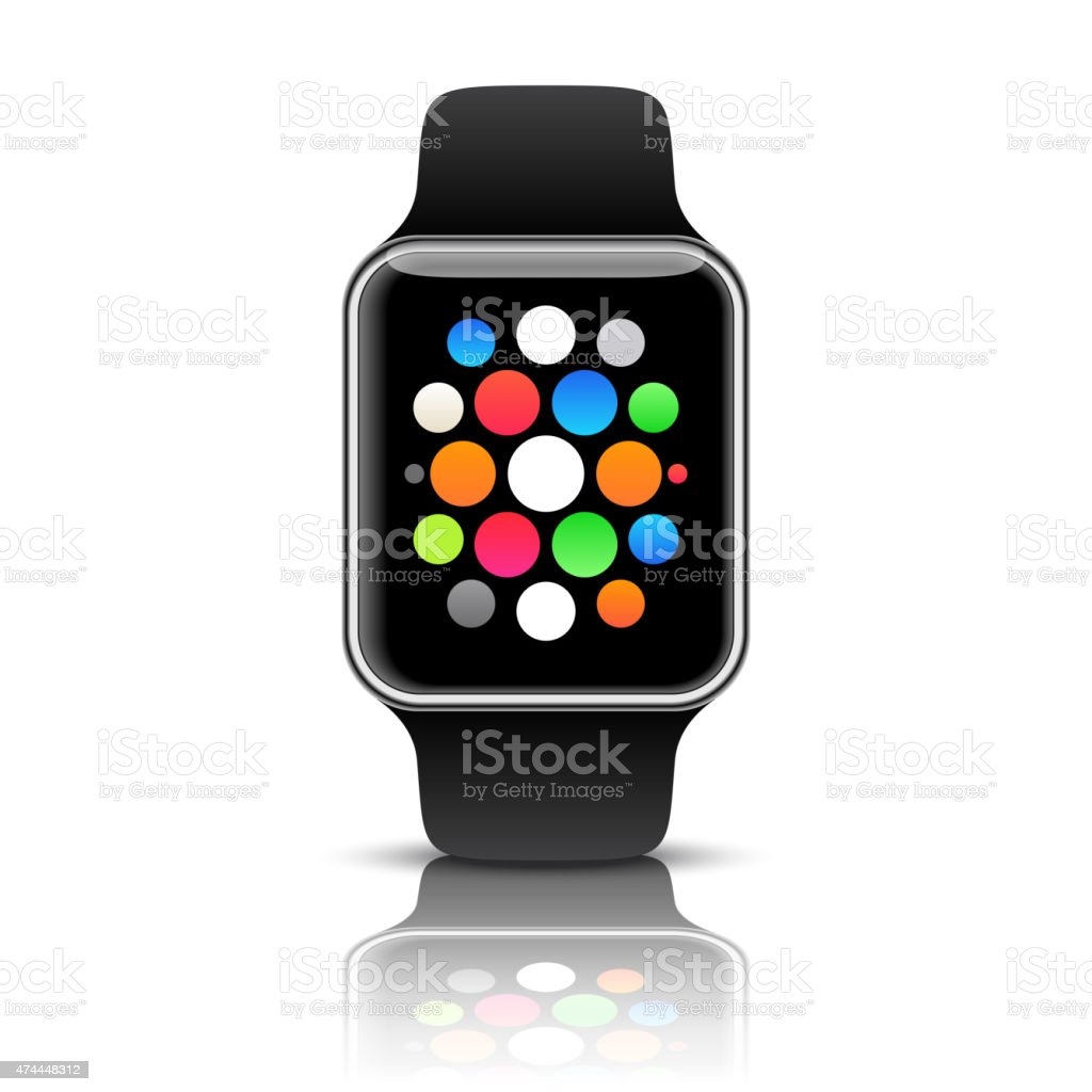Smart watch isolated with icons on white background. Vector illustration vector art illustration