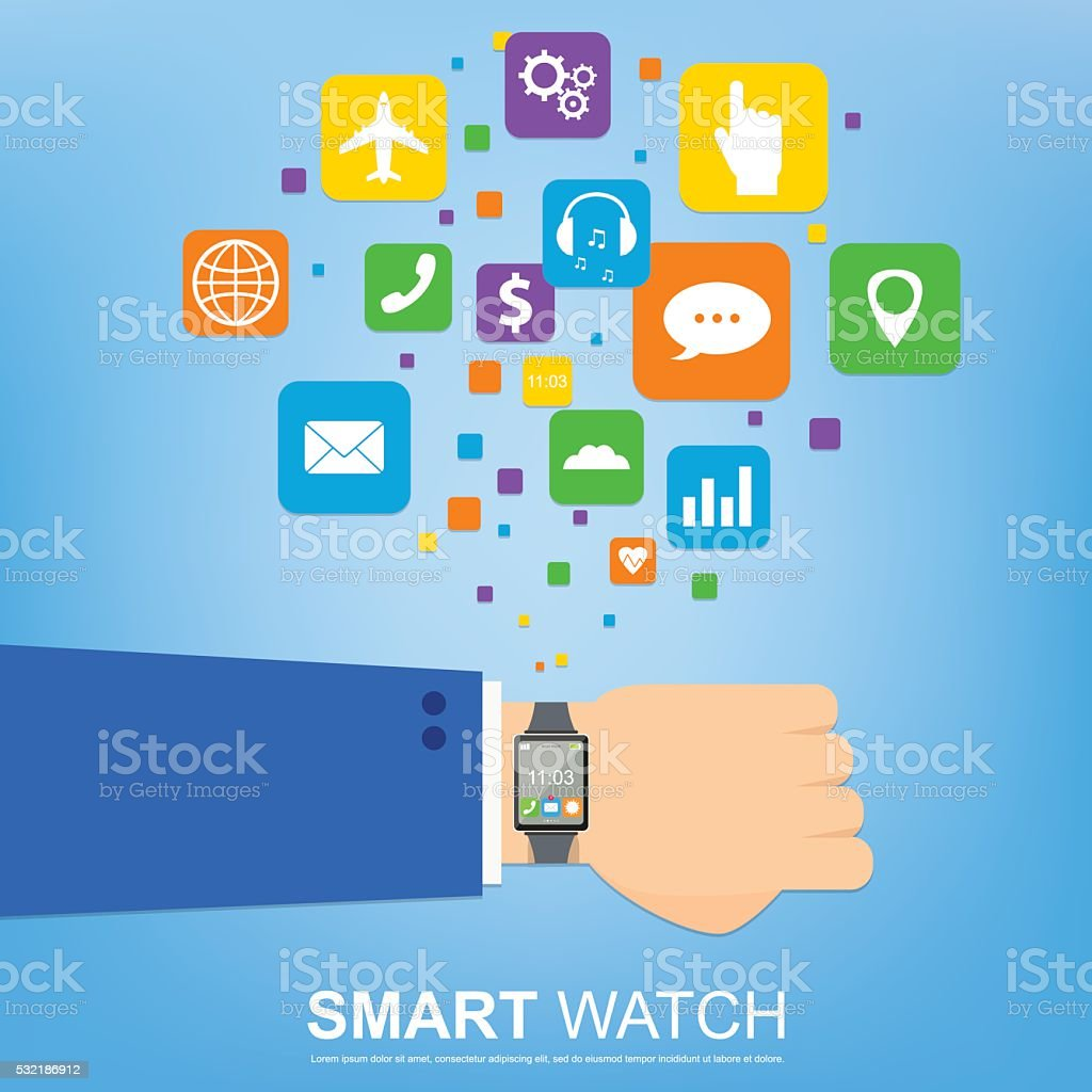 smart watch new technology electronic device royalty-free stock vector art