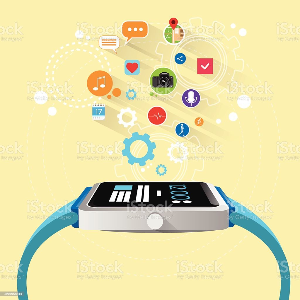 Smart Watch New Technology Electronic Device with Apps vector art illustration