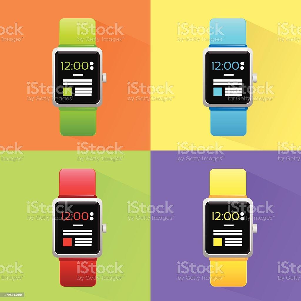 Smart Watch Set New Technology Electronic Device vector art illustration