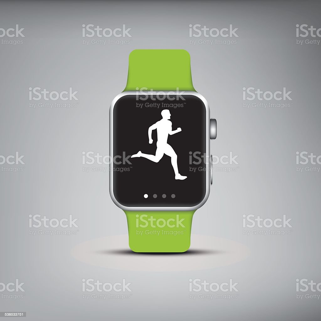 Smart watch technology with sport fitness tracker applications. Heart beat vector art illustration