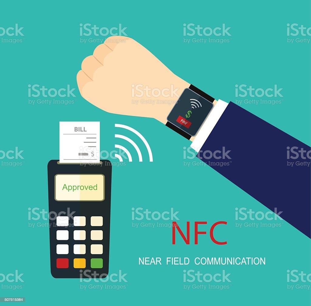 Smart watch terminal payment.  NFC technology. Vector flat illustration. vector art illustration
