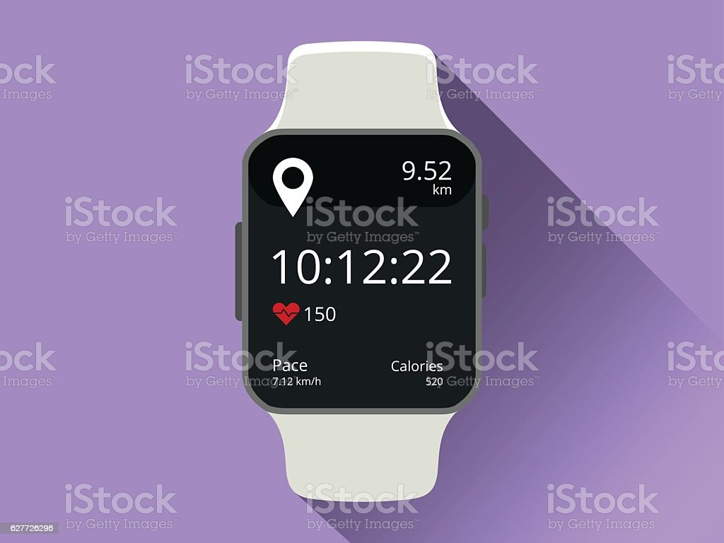 Smart watch vector art illustration