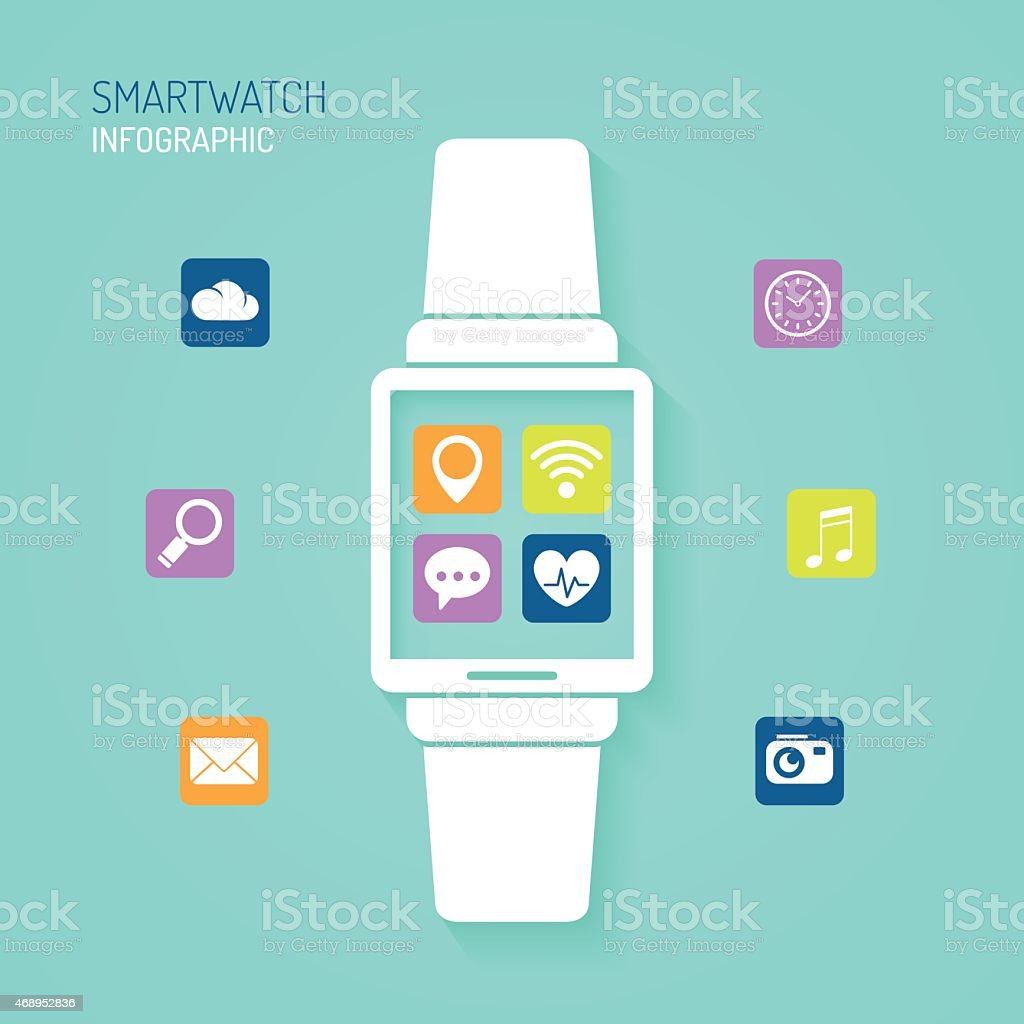 Smart watch wearable device with apps icons vector art illustration