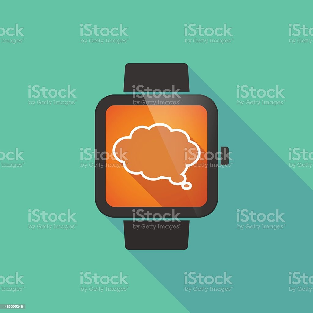 Smart watch with a cloud comic balloon vector art illustration