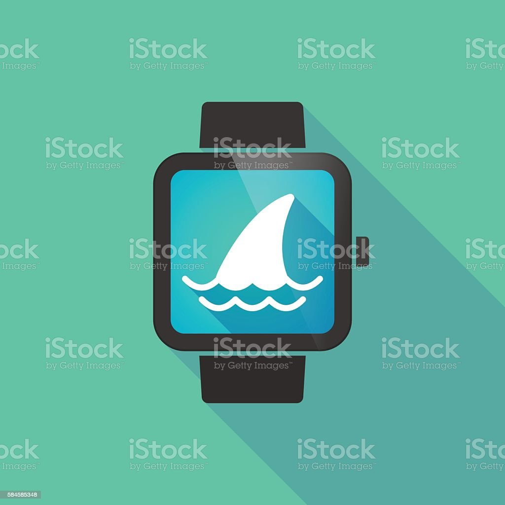 Smart watch with a shark fin vector art illustration