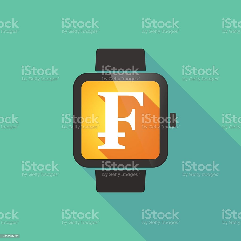 Smart watch with a swiss franc sign vector art illustration