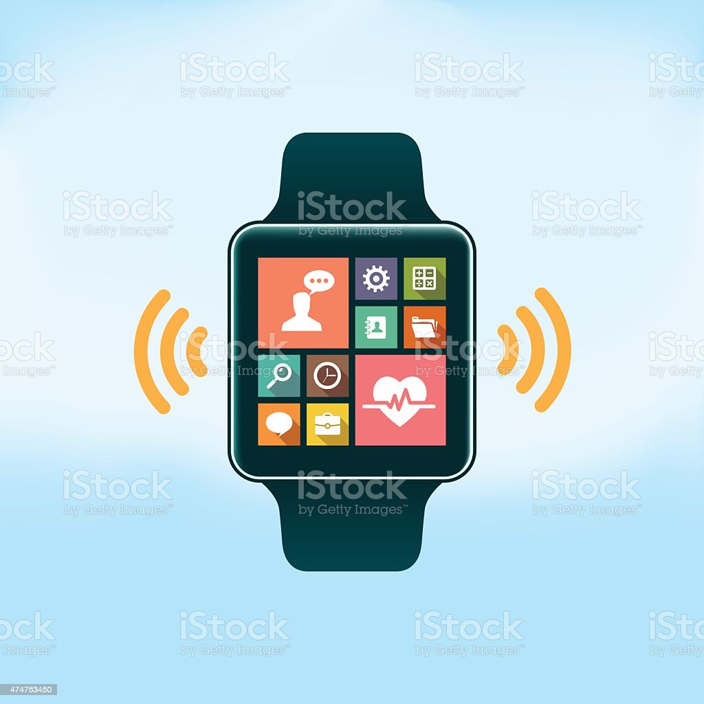 Smart Watch with Flat Design Icons vector art illustration