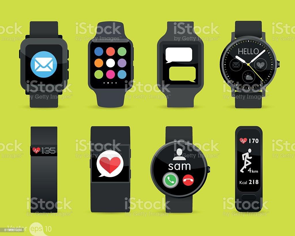 Smart Watches vector art illustration