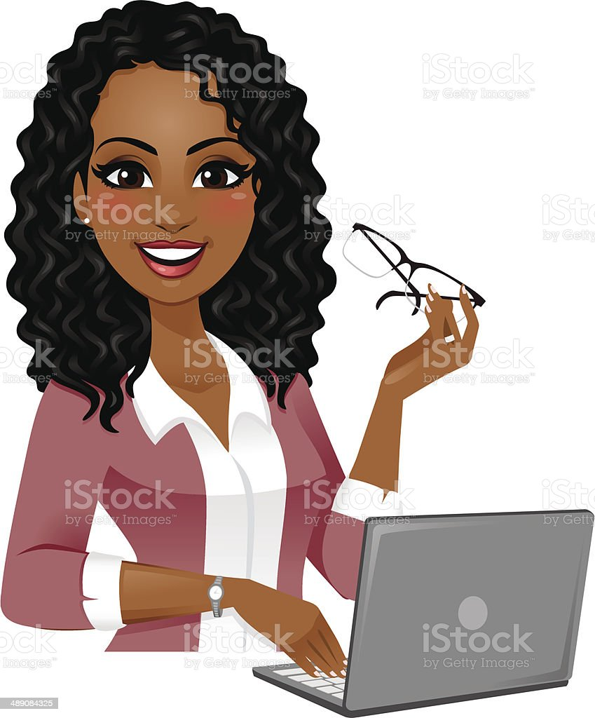 Smart Woman on Laptop vector art illustration