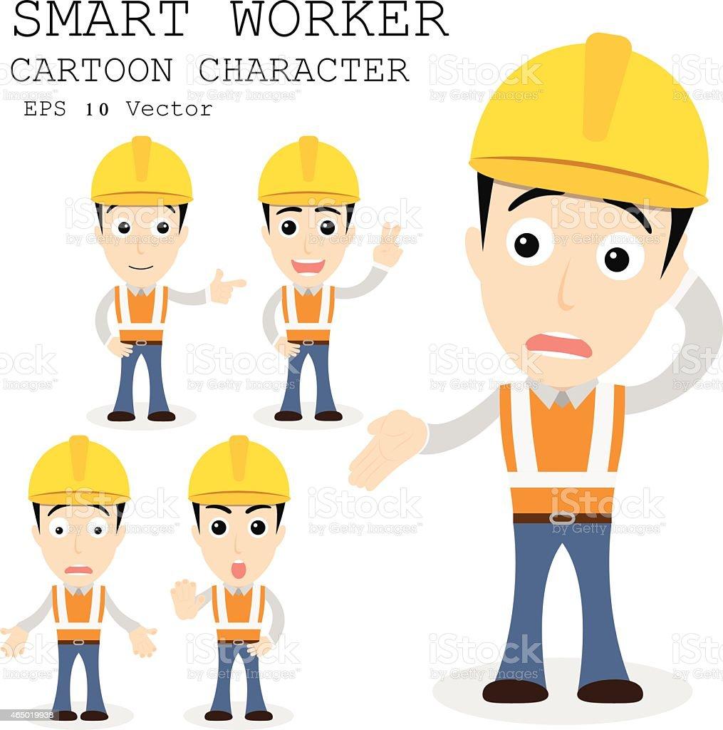 smart construction worker cartoon stock vector art istock smart worker cartoon character eps 10 vector illustration