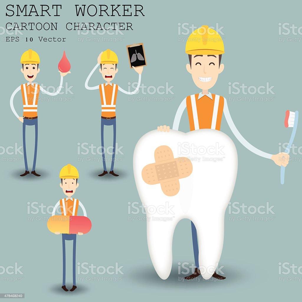 smart worker cartoon character eps vector illustration stock smart worker cartoon character eps 10 vector illustration royalty stock vector art