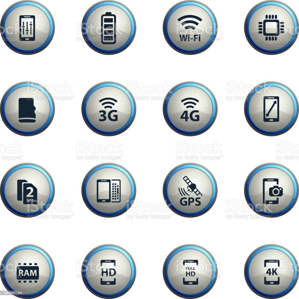 Smarthone specs simply icons vector art illustration
