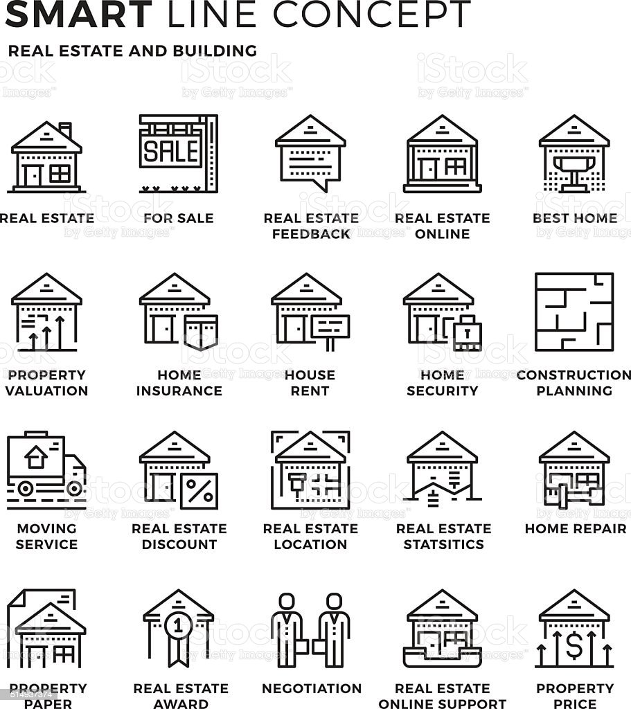 Smartline icon concept Real Estate vector art illustration