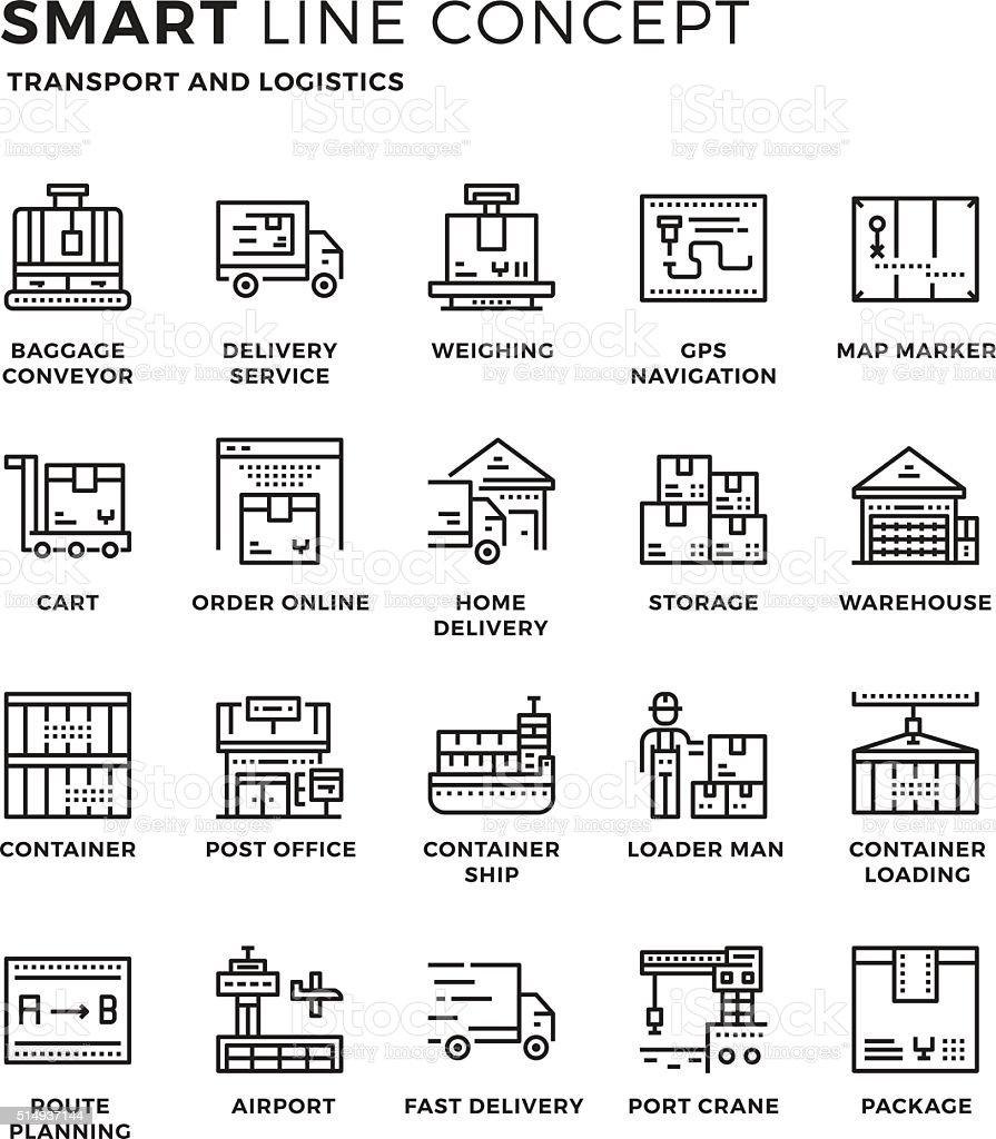 Smartline icon concept Transport and Logistics vector art illustration